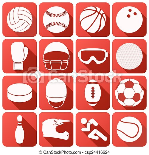 Set of sport icons in flat design - csp24416624