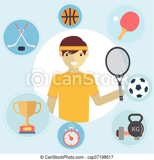 Set of sport icons in flat design - csp37198617