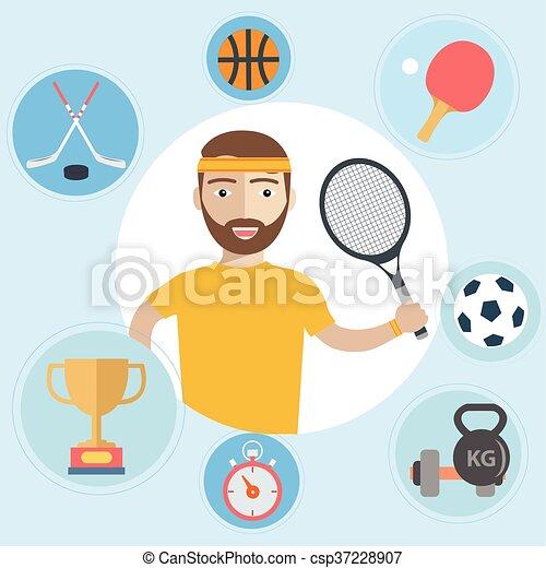 Set of sport icons in flat design - csp37228907