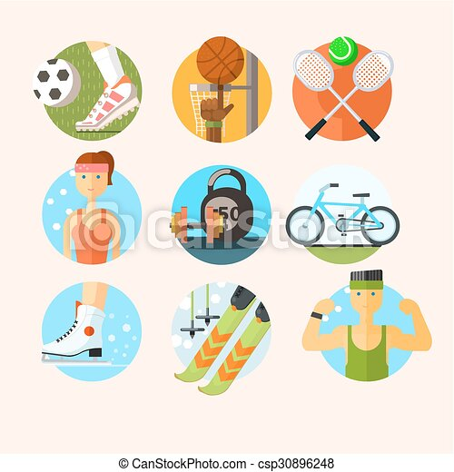 Set of Sport Icons in Flat Design Vector Illustration - csp30896248