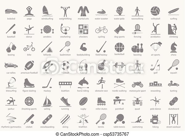 Set of sport icons in flat design with shadows. Vector illustration - csp53735767