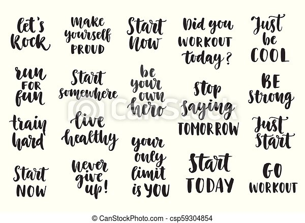 Set of Sport inspirational quotes on white