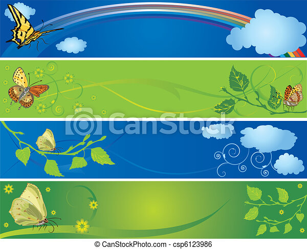 set of spring and summer banners - csp6123986