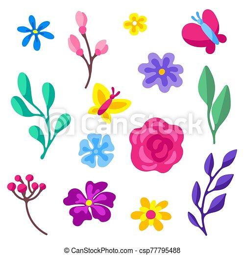 Set of spring flowers. Beautiful decorative natural plants. - csp77795488