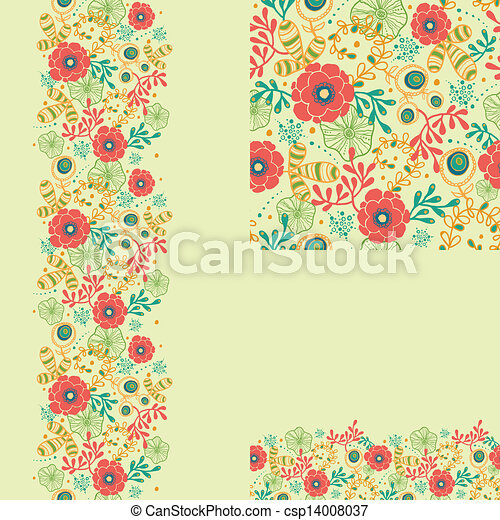 Set of spring flowers seamless pattern and borders backgrounds - csp14008037
