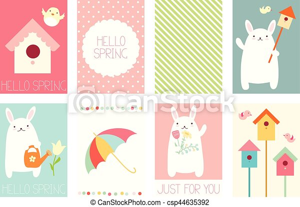 set of springtime banners with cute rabbit collection of springtime