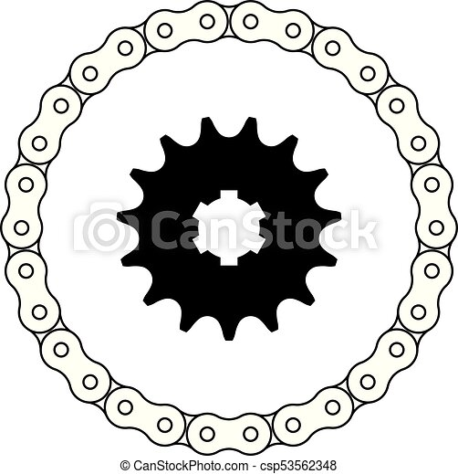 Set of sprocket and chain vector icon