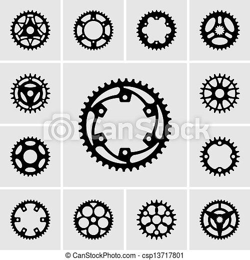 Set of sprocket icons - csp13717801