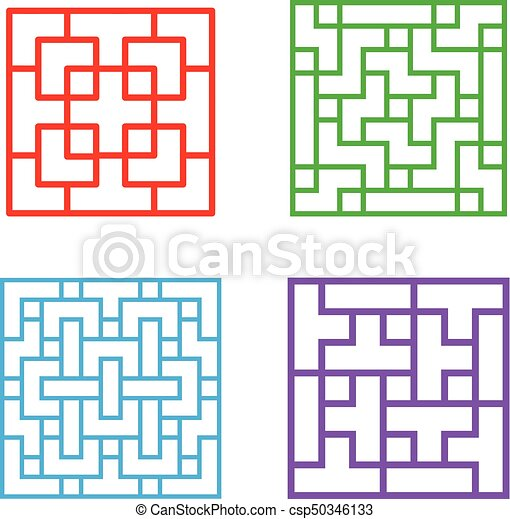Set of square chinese pattern window frame, vector.