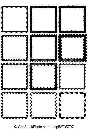 set of square label borders simply shapes in monochrome design