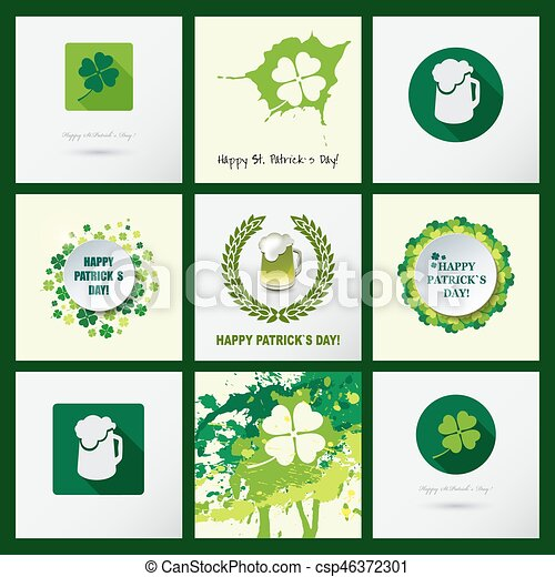 Set of st patricks day backgrounds and icons with clover leaves set of st patricks day backgrounds and icons with clover leaves greeting cards with calligraphic text m4hsunfo