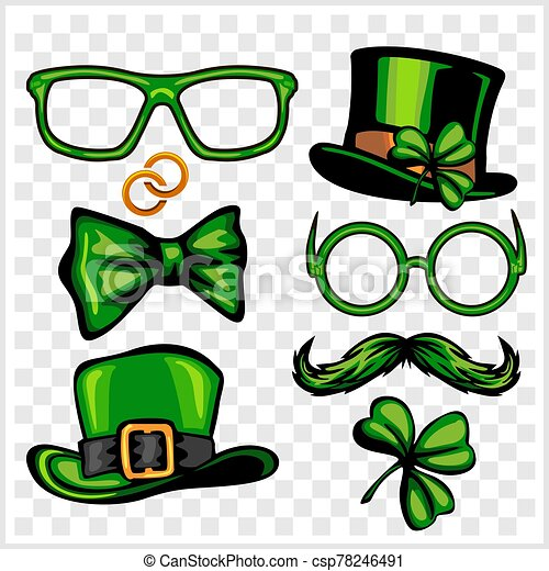 Set Of St Patricks Day Elements Objects Icons Vector Illustration Isolated On Light Background