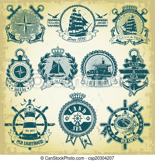 Set of stamp with a nautical theme - csp20304207