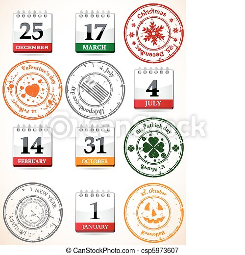 set of stamps and calendars  - csp5973607