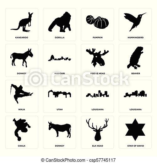 Set of star david, elk head, chalk, louisiana, ninja, moose donkey