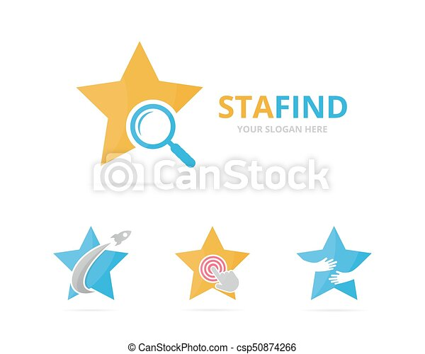 Set of star logo combination. Leader and magnifying embrace symbol or icon. Unique search logotype design template. - csp50874266