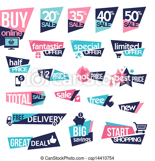 set of stickers and badges for sale set of modern designed stickers