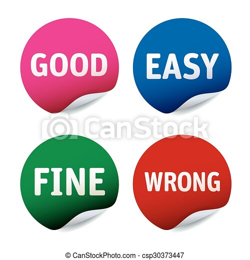 Set of stickers Good, East, Fine, Wrong - csp30373447