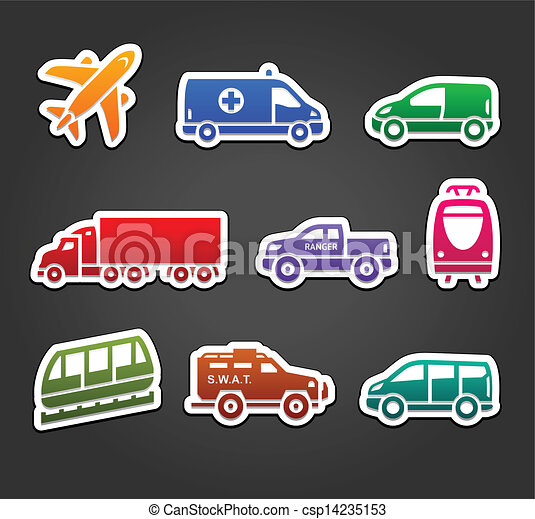 Set of stickers, transport color icons - csp14235153