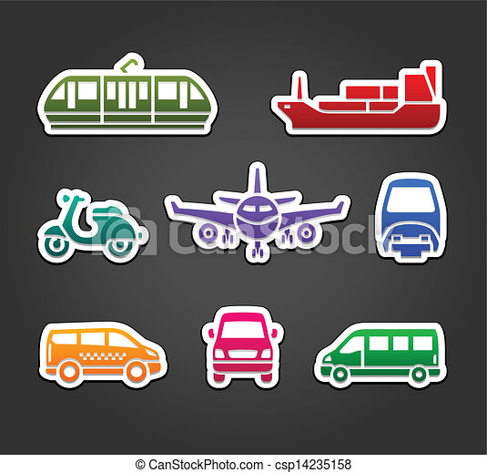 Set of stickers, transport color signs - csp14235158