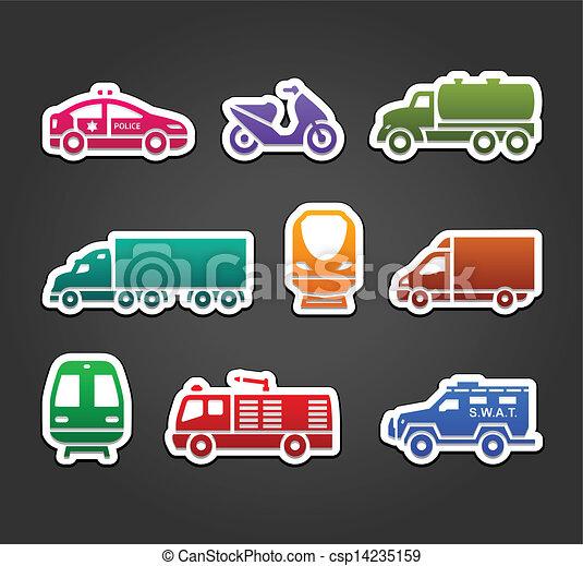 Set of stickers, transport color symbols - csp14235159