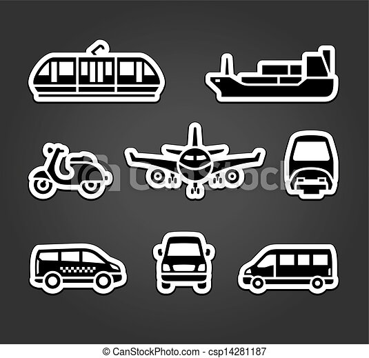 Set of stickers, transport signs - csp14281187
