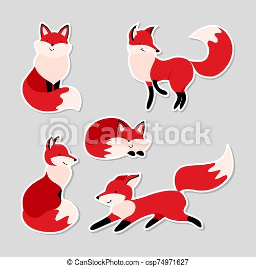 Set of stickers with cute cartoon foxes - csp74971627