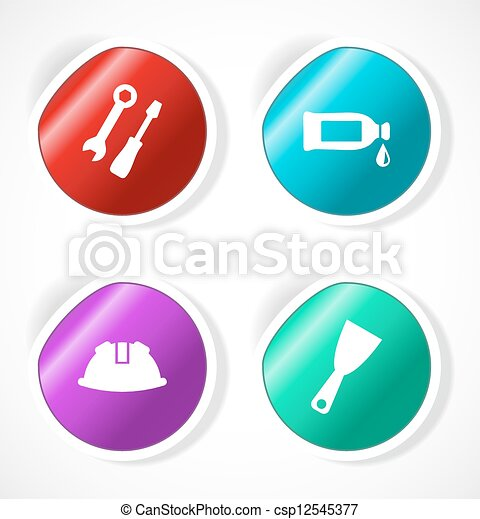 Set of stickers with icons - csp12545377