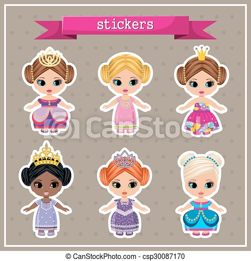 Set of stickers with princesses - csp30087170