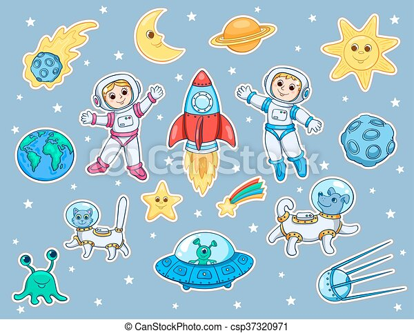 Set of stickers with space objects - csp37320971