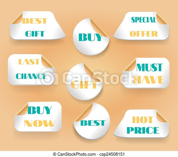 Set of stickers with text last chance, buy now, best, gift, hot price, must have, best offer - csp24508151