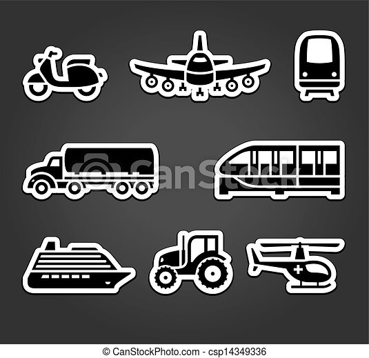 Set of sticky stickers, transport symbols - csp14349336