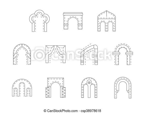 Set of stone archway flat line vector icons