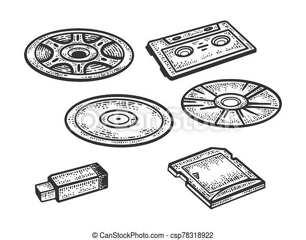 set of storage media sketch engraving vector illustration. T-shirt apparel print design. Scratch board imitation. Black and white hand drawn image. - csp78318922