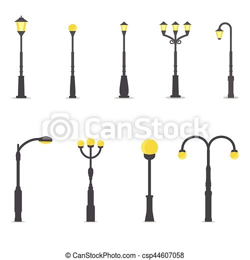 Set of street lamps - csp44607058