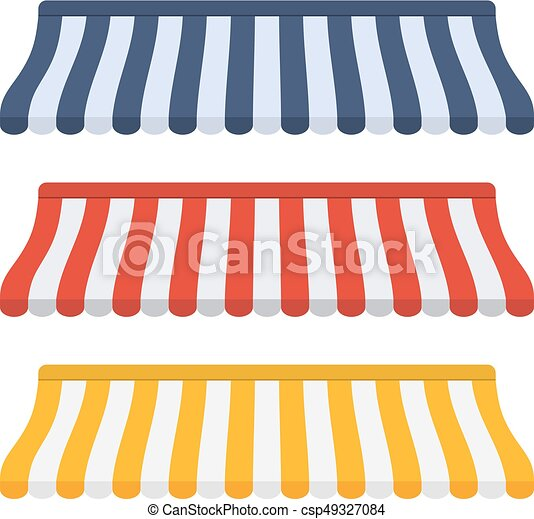 Set of striped awnings for shop - csp49327084