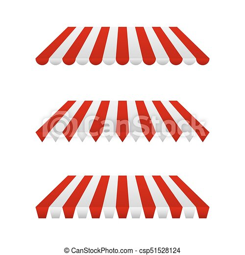 Set of Striped Awnings. Vector Illustration - csp51528124