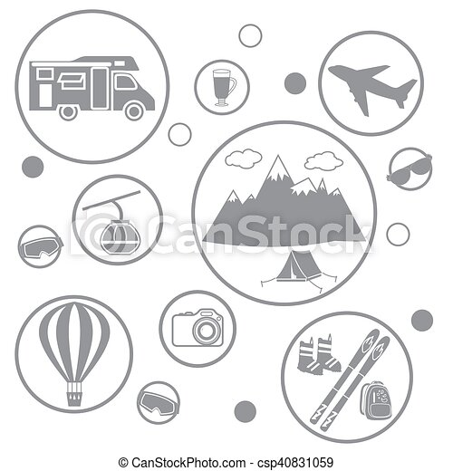 Set of stylized icons of tourist equipment and accessories in the mountains - csp40831059