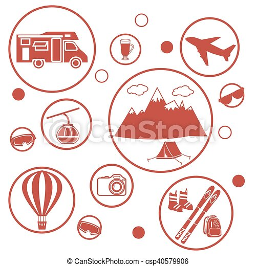 Set of stylized icons of tourist equipment and accessories in the mountains - csp40579906