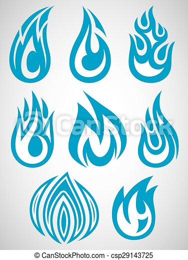 set of stylized icons with flames - csp29143725