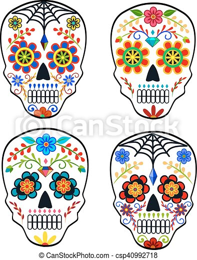 set of sugar skulls for mexican holiday the day of the dead rh canstockphoto com day of the dead border clipart day of the dead clipart free