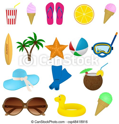 Set of summer beach items. diving, surfing and vacation ...