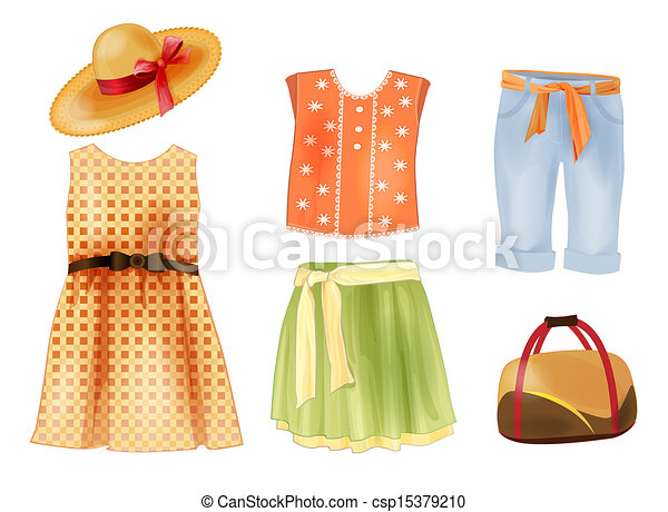 set of summer clothes for girls vector clip art search rh canstockphoto com Jeans Clip Art summer clothes clipart free
