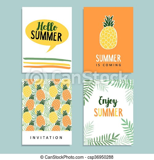 Set of summer greeting journaling cards birthday invitation set of summer greeting cards journaling cards birthday invitation pineapple fruit palm leaves background tropical flat design m4hsunfo