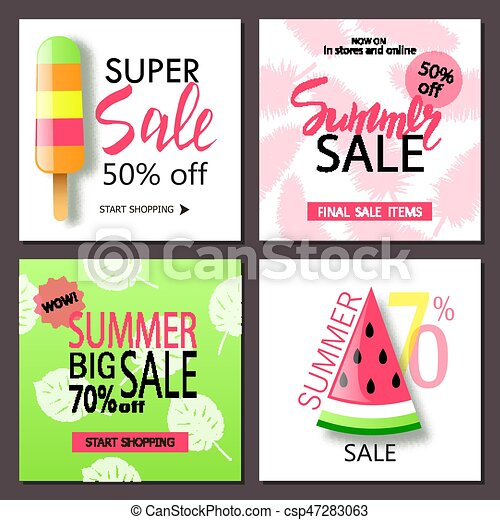 Set Of Summer Sale Banner Templates Wallpaperflyers Invitation Posters Brochure