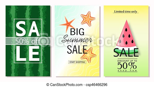 Set Of Summer Sale Banner Templates Vector Illustrations For Website And Mobile Banners