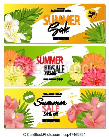 Set Of Summer Sale Banner Templates With Realistic Vector Tropical Leaves And Beautiful Flowers Wallpaper