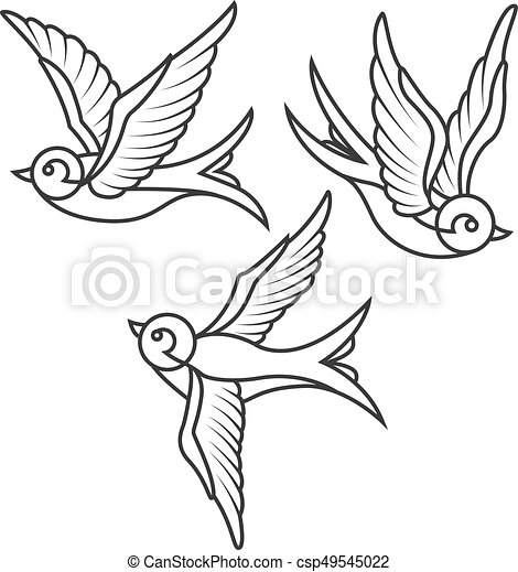 Tattoo Templates | Set Of Swallow Tattoo Templates Isolated On White Background Bird
