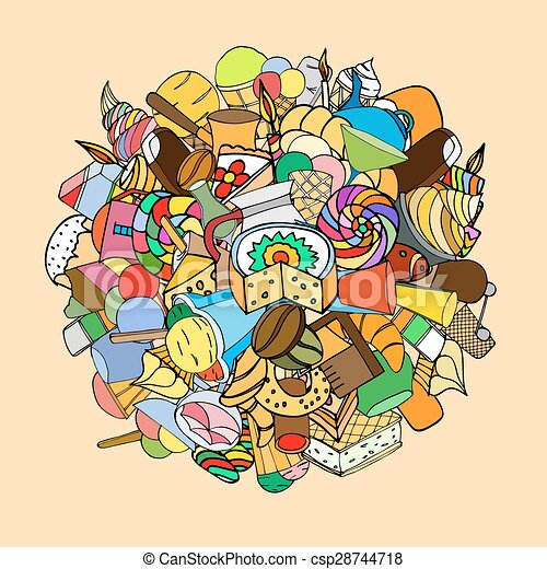 Set of sweets, hand-drawn, vector Doodle - csp28744718