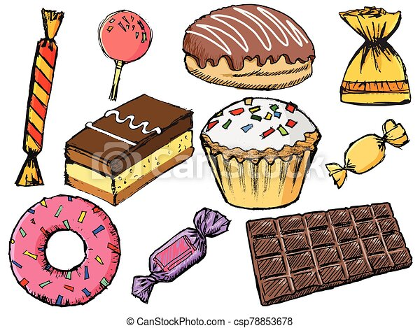Set of sweets with candies and chocolate - csp78853678